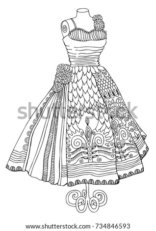 Hand drawn dress. Sketch for anti-stress adult coloring book in zen-tangle style. Vector illustration  for coloring page, isolated on white background. Template for poster, cover or tattoo.