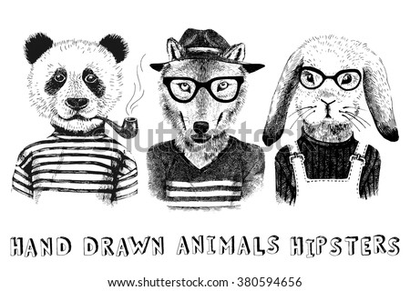 hand drawn dressed up animals