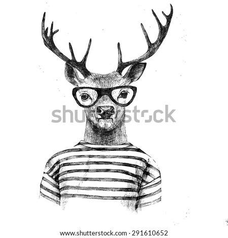 hand drawn dressed up deer in