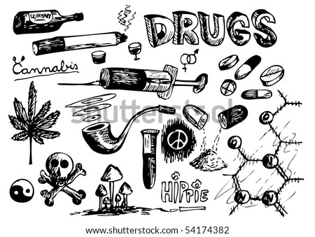 stock vector : hand drawn drugs and danger object