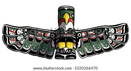 Hand drawn eagle totem vector illustration.