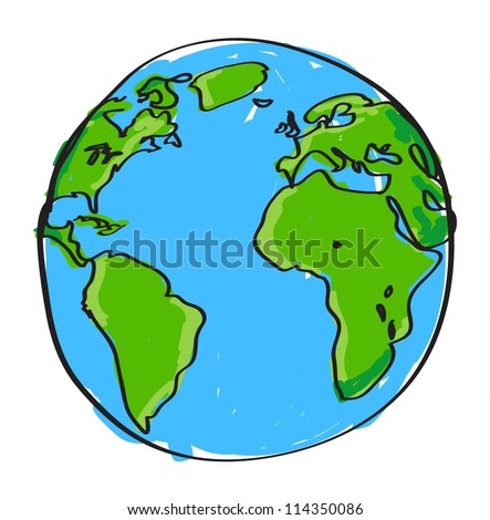 Hand drawn earth on white