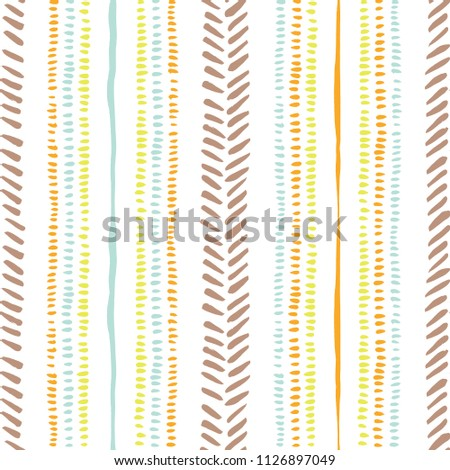Hand drawn earthy tones tribal lines and stripes, mimicking folk stitching on white background. Vector seamless pattern. Fresh and cute abstract geometric drawing. Summer print.