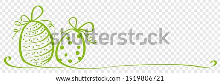 Hand drawn easter eggs calligraphy ribbon on transparent background vector illustration
