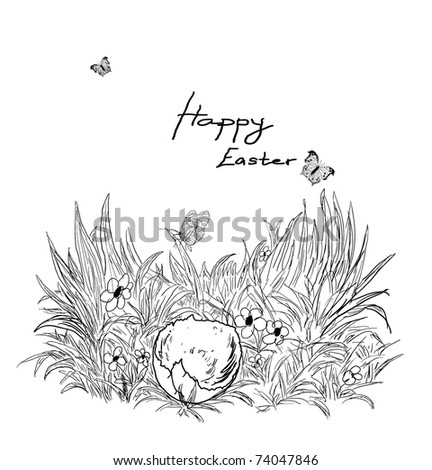 hand-drawn easter theme sketch