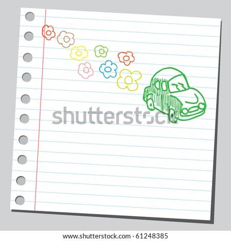 Hand drawn eco car concept