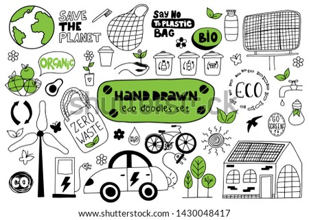Hand drawn eco doodles set on a white background. Zero waste. Vector illustration.