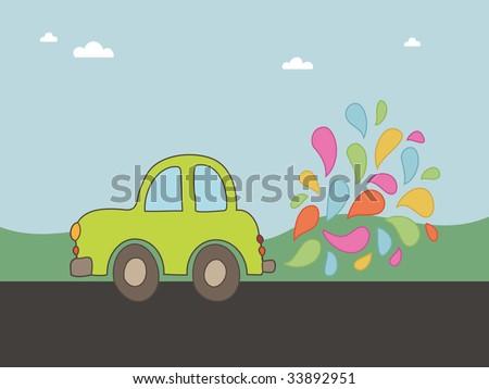 hand drawn eco friendly car blowing colorful smoke