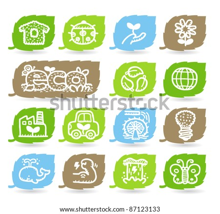 hand drawn ECO,Green environment icon set