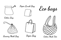Hand Drawn Eco Grocery Shopping Bags Collection. Black Doodle line Art Vector Illustration. No Plastic, Go Green, Eco Friendly , Plastic Bag Free Concept.
