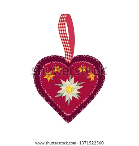 Hand drawn edelweiss flower in red heart isolated. Vector Star shape national symbol of Alps, Mountain alpine blossom plant cartoon. Traditional decorative design element. Background illustration