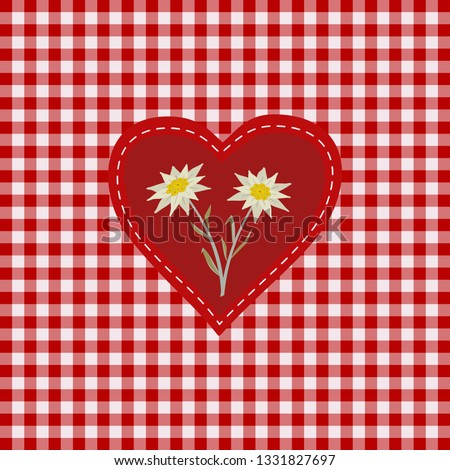Hand drawn edelweiss flower in red heart. Vector Star shape national symbol of Alpes, Mountain alpine plant cartoon. Traditional decorative design element on textured checkered background illustration