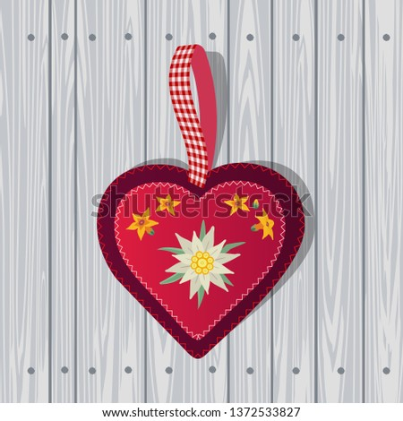 Hand drawn edelweiss flower in red heart. Vector Star shape national symbol of Alps, Mountain alpine blossom plant on wooden background cartoon. Traditional decorative design element illustration