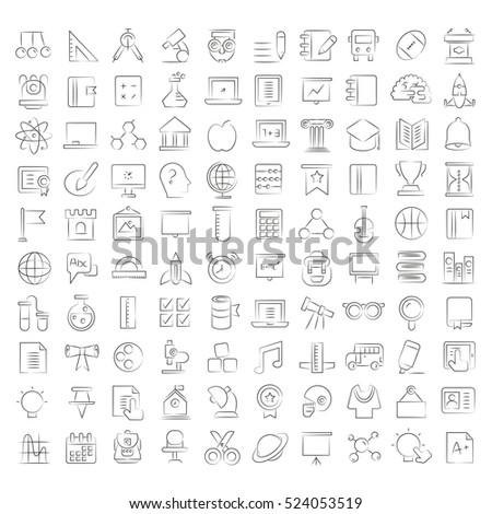 hand drawn education icons, school icons