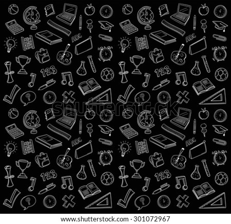 Hand drawn education icons vector against black background