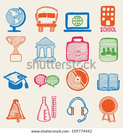 Hand drawn education icons - vector icons