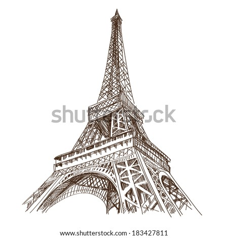 hand drawn eiffel tower paris