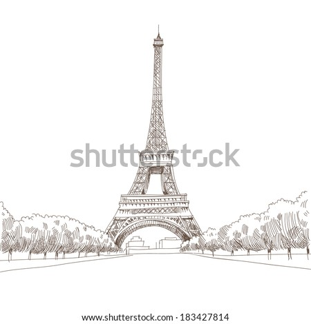 Hand drawn Eiffel Tower. Paris, vector illustration