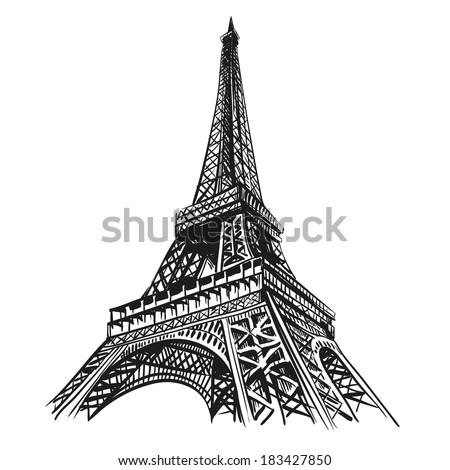 hand drawn eiffel tower paris
