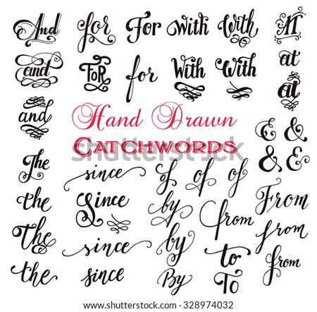 hand drawn elegant ampersands