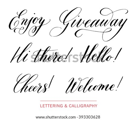 Calligraphic Elements Hand Drawn Elegant Catchwords For Your Design Hi There Giveaway Hello Welcome