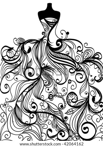 Hand-drawn elegant wedding dress in vector