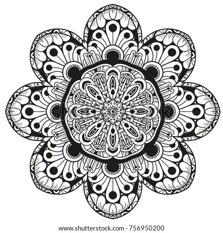 Hand drawn element. Black and white. Mandala. Vector illustration for coloring books.