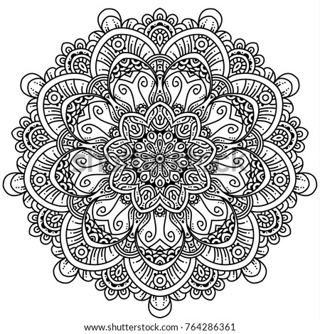 Hand drawn element. Black and white. Mandala. Vector illustration. Perfect for coloring pages.