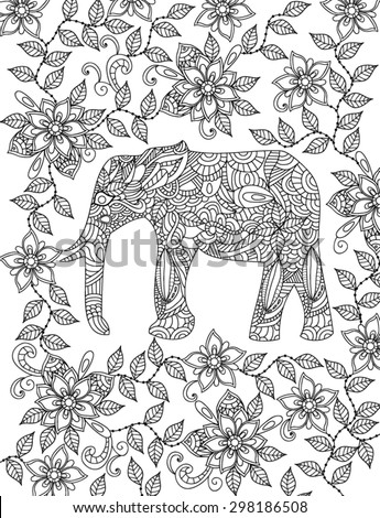 hand drawn elephant coloring