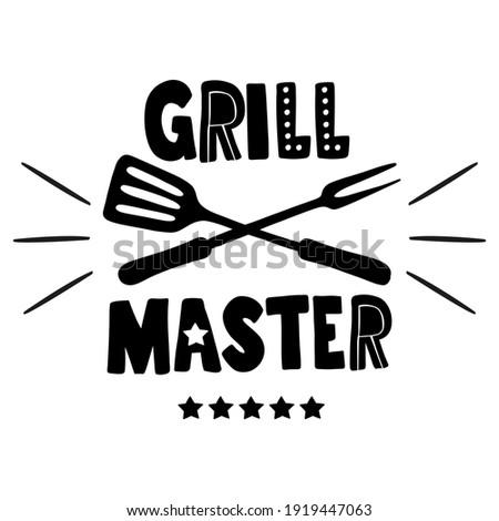 Hand drawn emblem, sticker with Grill Master lettering Zdjęcia stock ©