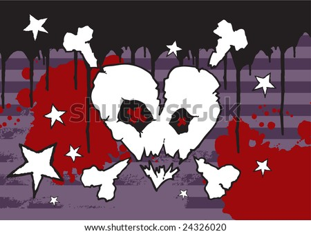 Hand drawn Emo skull vector on grunge background