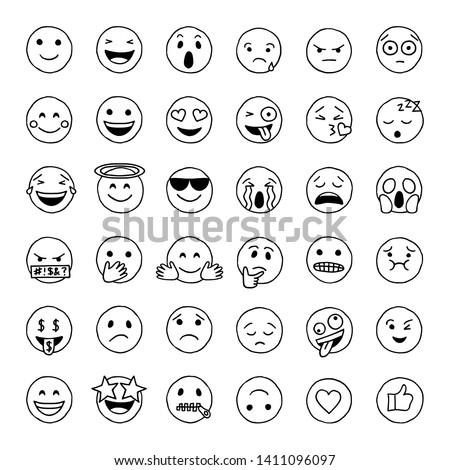 Hand drawn emoji in black and white, social media emoticons