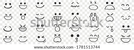 Hand drawn emotions set. Face expressions happy or sad doodles or laughing faces smiling mouths crying eyes. Different mood positive and negative human feelings illustration. Photo stock ©