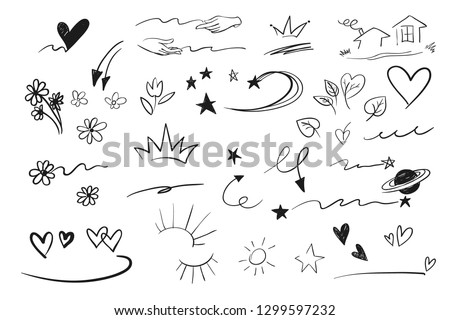 Hand drawn emphasis elements, black on white background. Vector symbols and logo. Arrow, heart, love, hand made, homemade, star, leaf, sun, light, flower, daisy, graffitti crown, king, queen