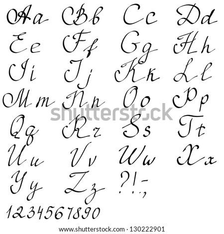 Hand Drawn English Alphabet Letters Vector Illustration