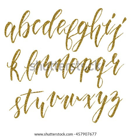 Hand drawn english calligraphic alphabet with gold glitter texture. Each letter isolated on a white background. Vector illustration.