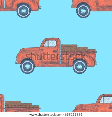 Hand drawn Engraved Retro Vintage Pickup Truck Seamless Pattern. Vector illustration