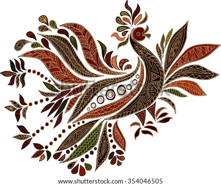 hand drawn ethnic bird isolated
