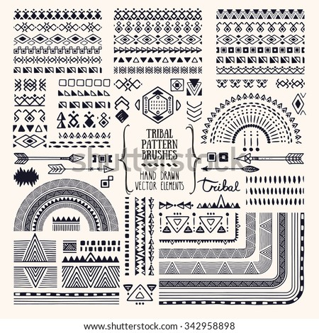 Hand drawn ethnic brushes, patterns, textures. Artistic vector collection of design elements: tribal geometric ornament, aztec style, native americans' fabric. Pattern brushes are included in EPS.