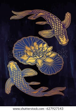 hand drawn ethnic fish  koi