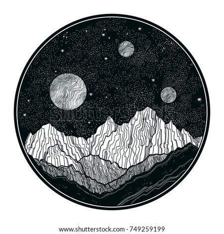 Hand drawn extraterrestrial night sky with mountains landscape, planet,moon, nature elements. Isolated vintage vector illustration. Invitation. Tattoo, travel, adventure, outdoors retro symbol.
