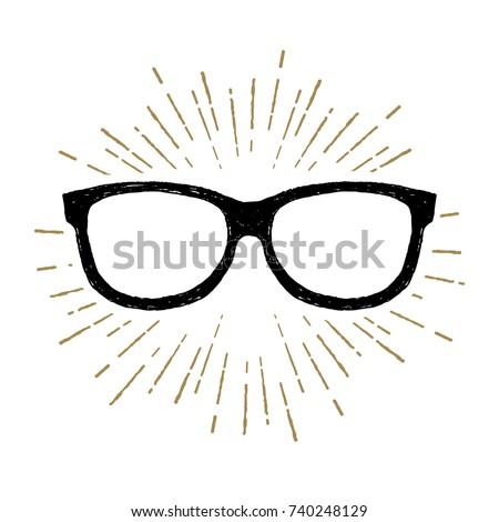 Hand drawn eye glasses textured vector illustration.