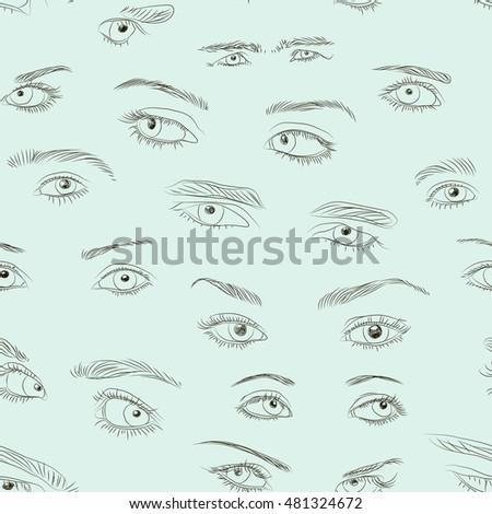 hand drawn eyes set pattern