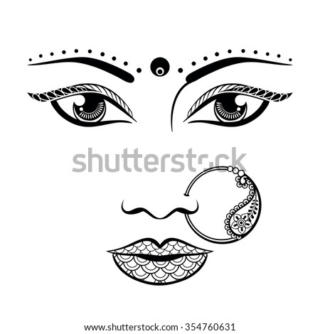 hand drawn face of an indian
