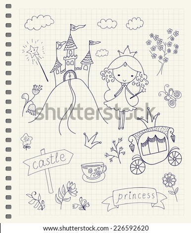 hand drawn fairy tale princess