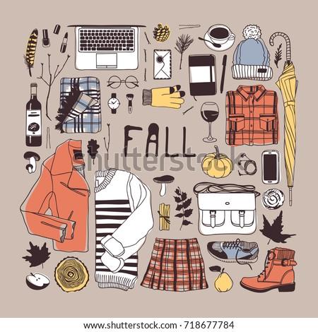 Hand drawn fall fashion illustration. Creative ink art work. Actual vector drawing. Autumn set: glove, watch, glasses, phone, headphones, jumper, jacket, skirt, boots, socks, bag, umbrella, hat