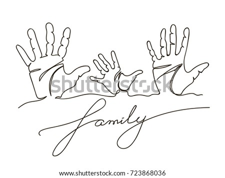 Hand Drawn Family Handprints Vector Illustration Of Mom Dad And Child