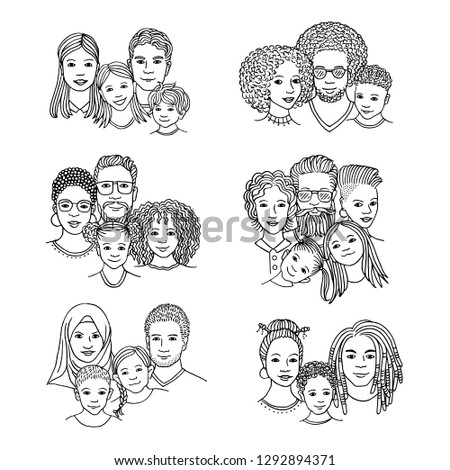 Hand drawn family portraits, parents and children from diverse ethnicities, black ink illustration