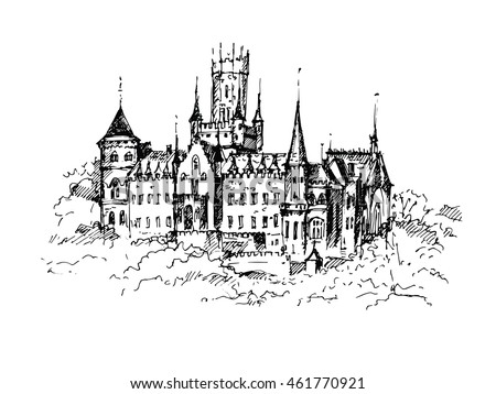 hand drawn famous old castle