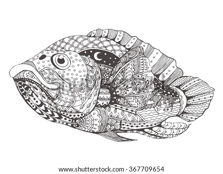 hand drawn fantasy fish with